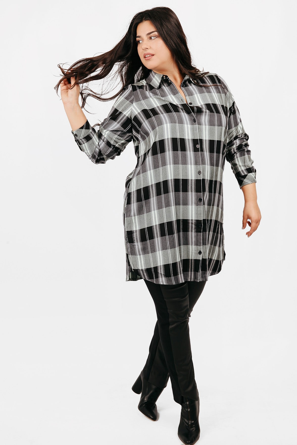 Checkered lingline shirt with lurex