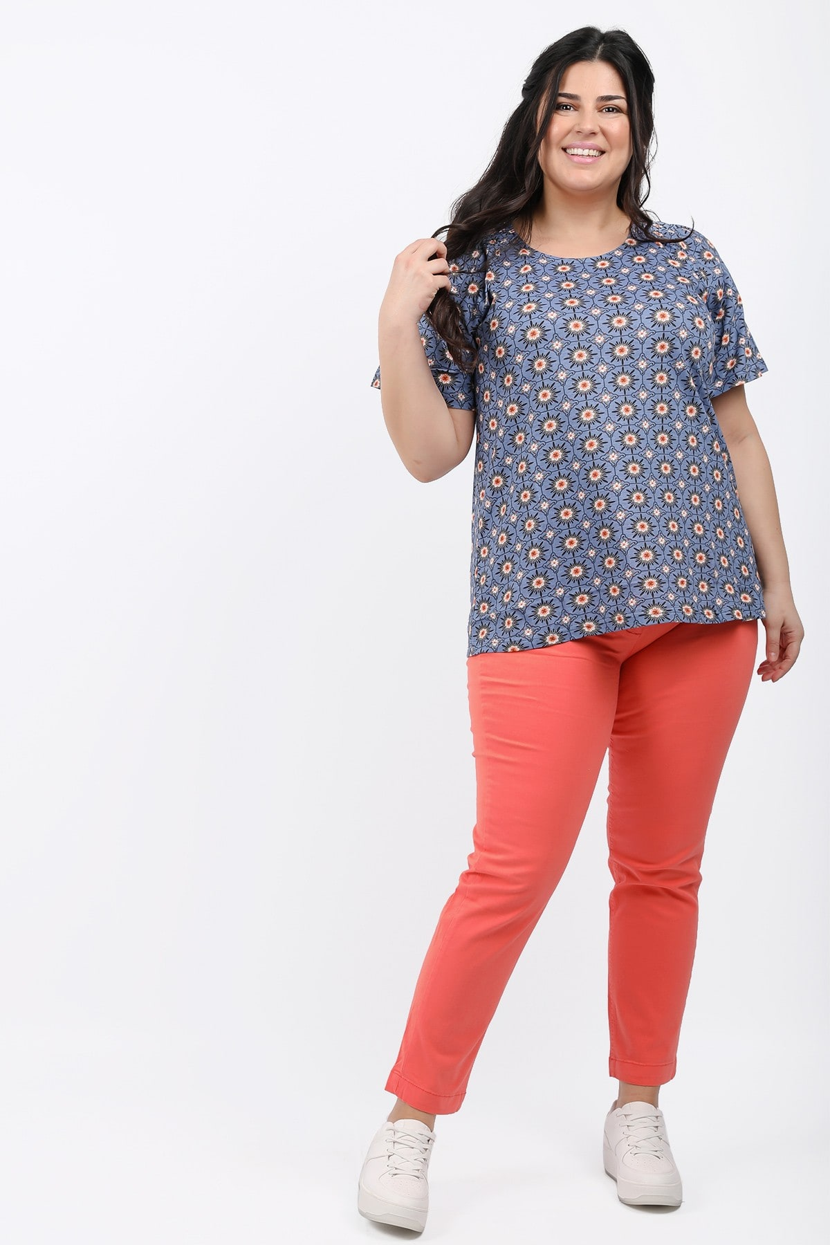 Shortsleeved printed blouse