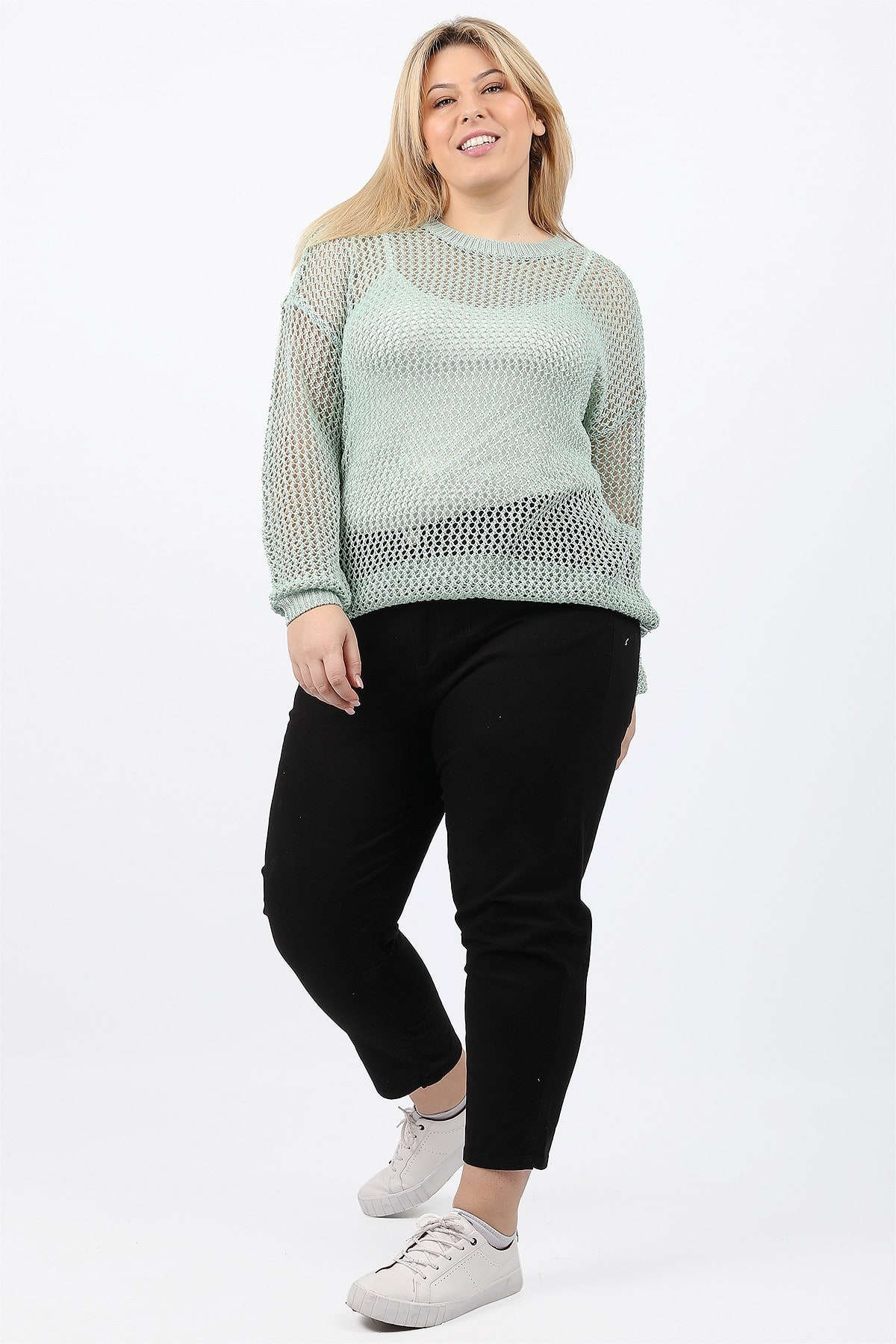 Knit perforated trimmed blouse
