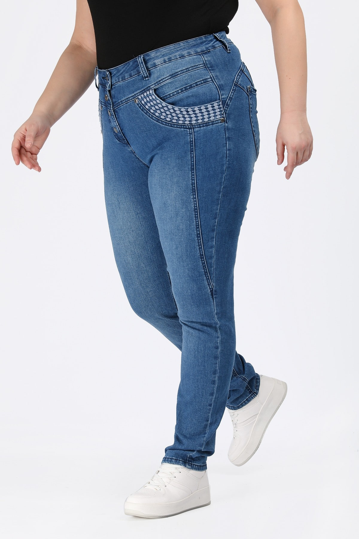Slim fit denim trousers with embroidery