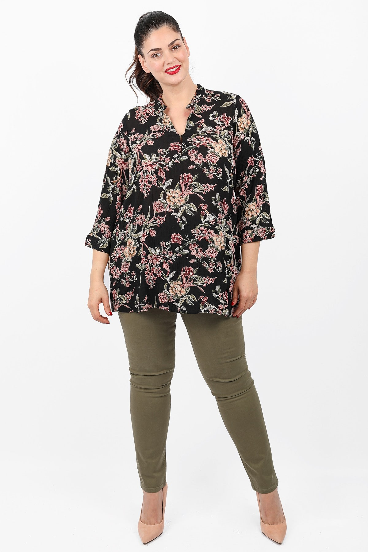 Floral top with mao neck