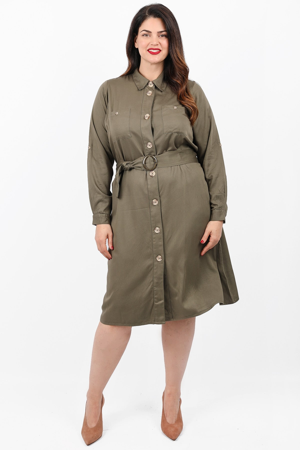 Shirt style midi dress with belt