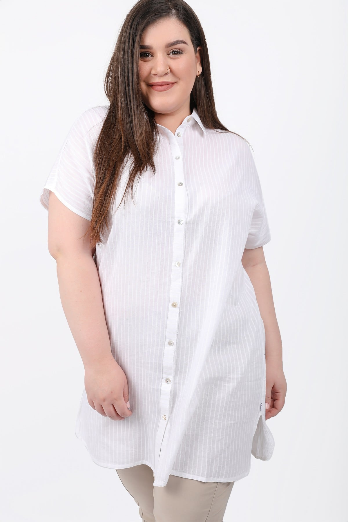 Shortsleeved viscose shirt tunic