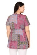 Patchwork blouse with shirred detail