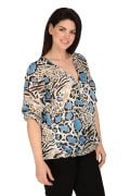 Wrap snakeprint blouse with brooch