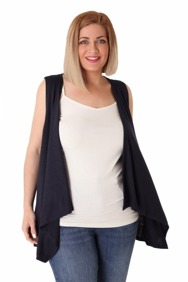 Melange vest with waterfall lapel