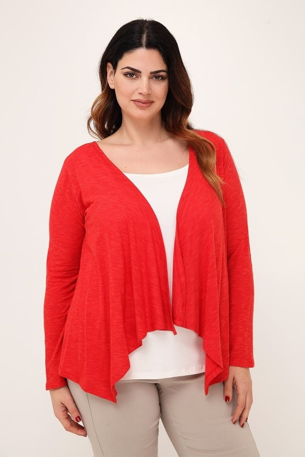 Melange viscose cardigan with draped lapel