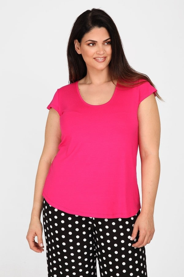 Viscose top with cap sleeves