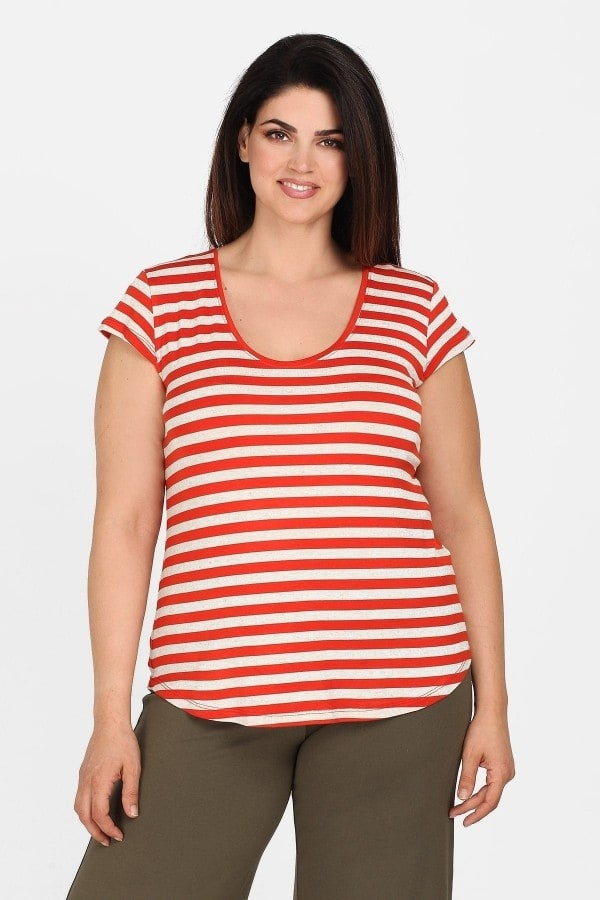 Striped viscose top with cap sleeves