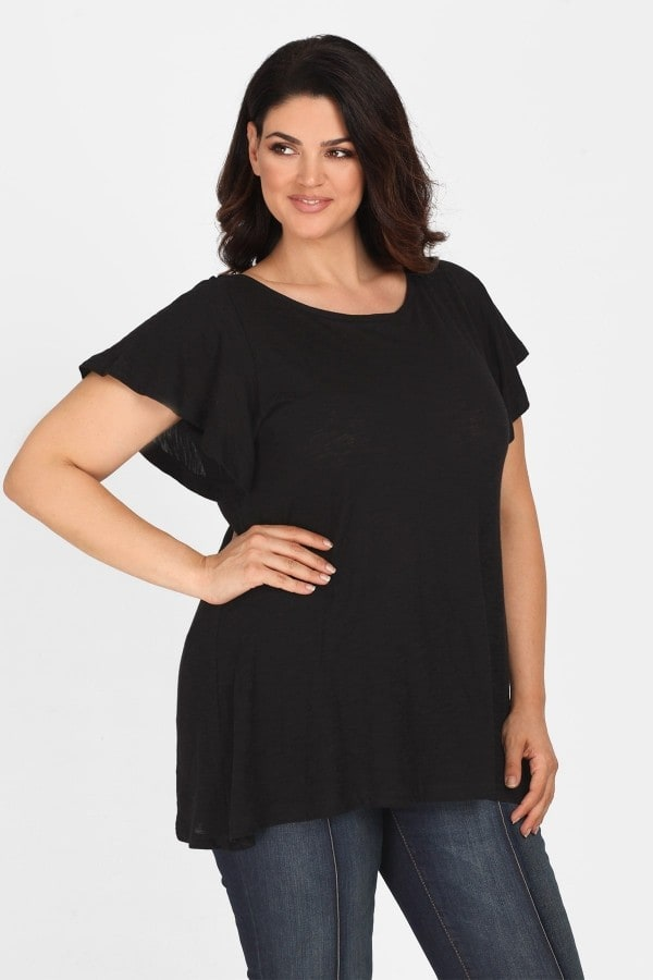 Basic top with flared sleeves