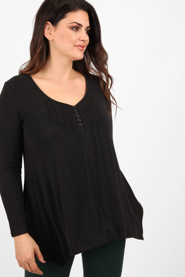 Basic blouse with buttons  pleated asymmetric hem