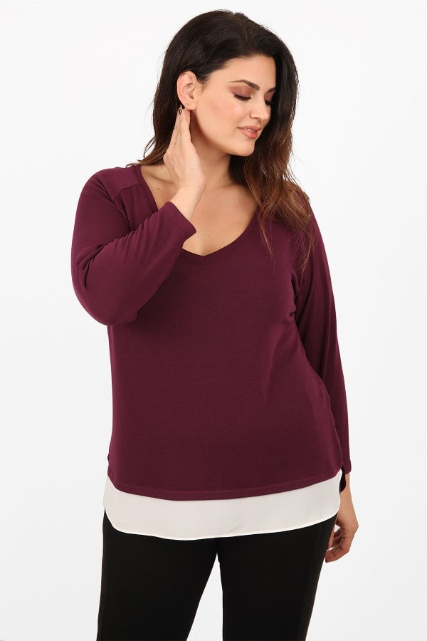Knit basic blouse with georgette hem