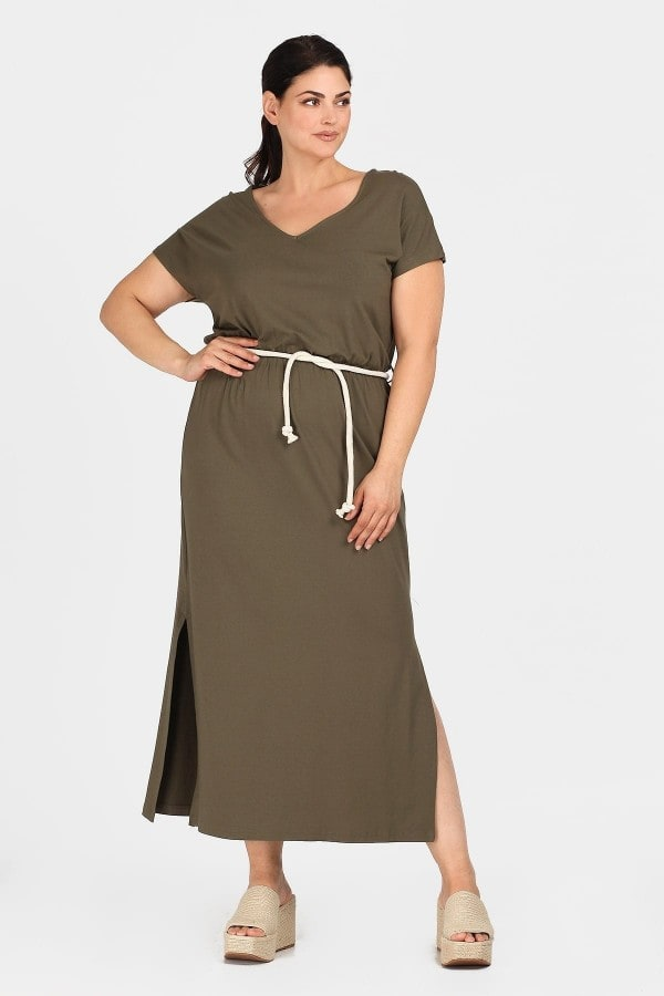 Maxi viscose dress with belt