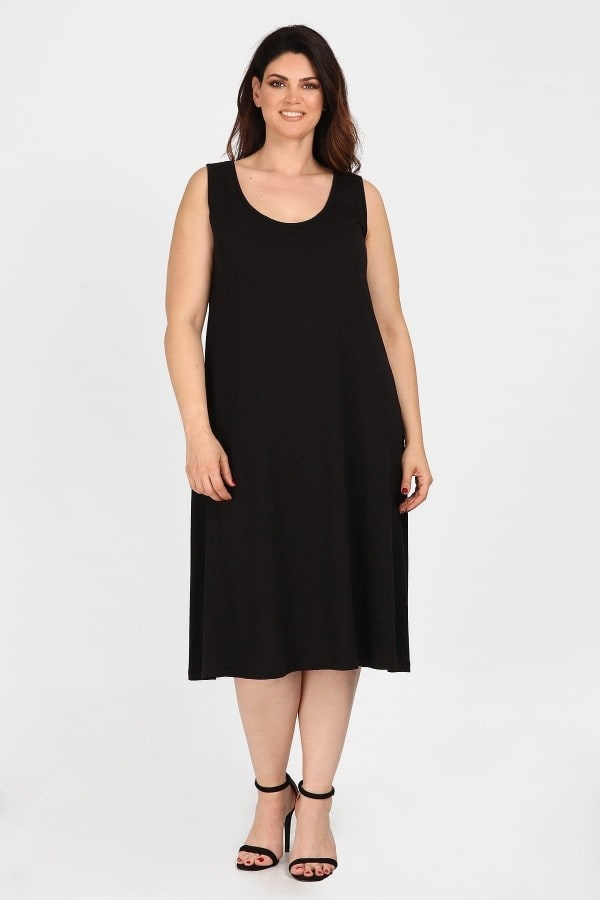 Sleeveless midi cotton dress