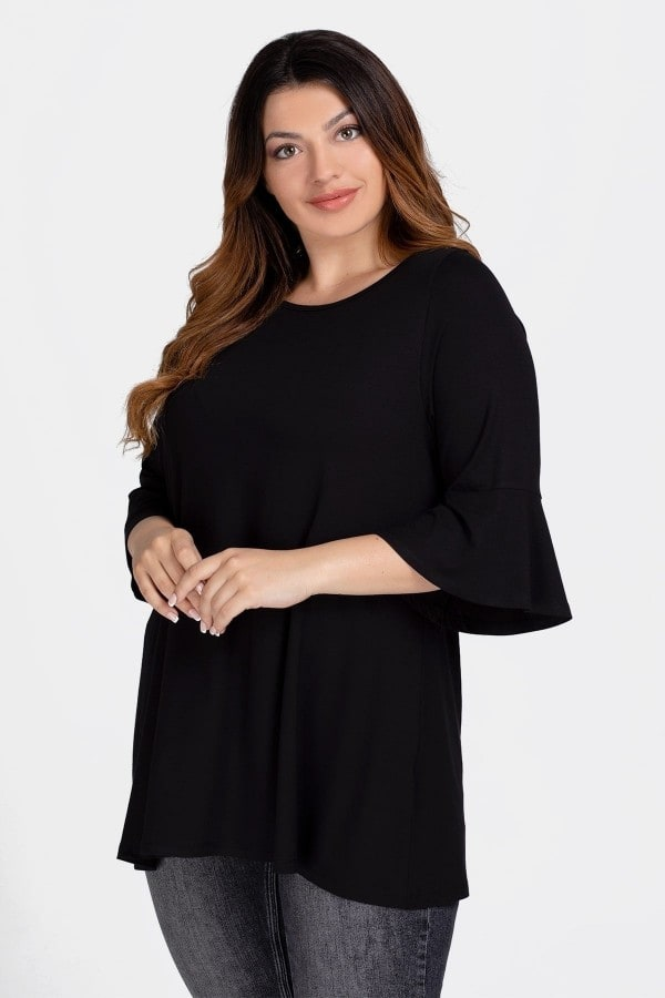 Basic blouse with bell sleeves