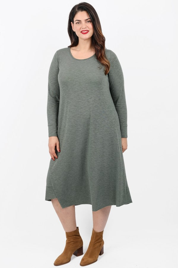 Basic melange midi asymetrical dress