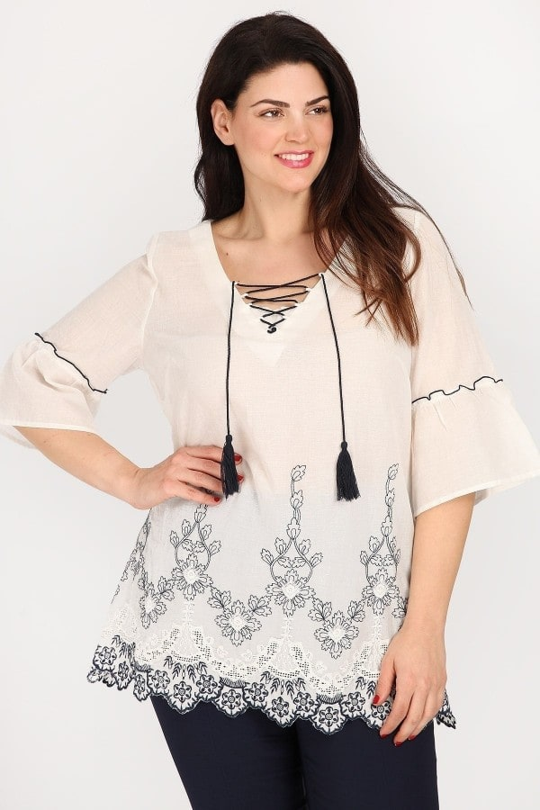 Cotton tunic with embroidered hem