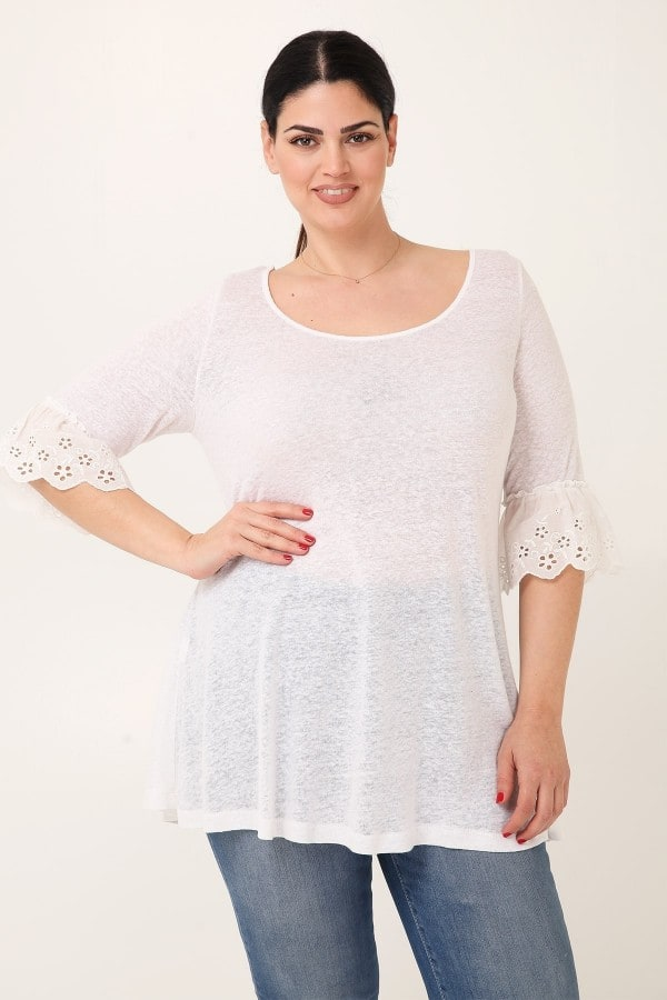 Melange blouse flared hem with broderie anglaise
