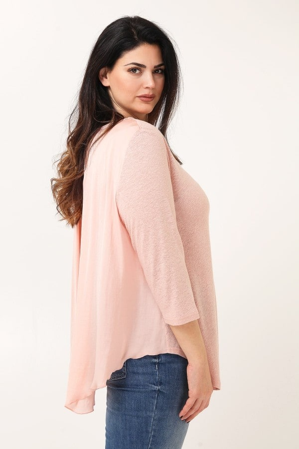 Tunic with sateen back  slit
