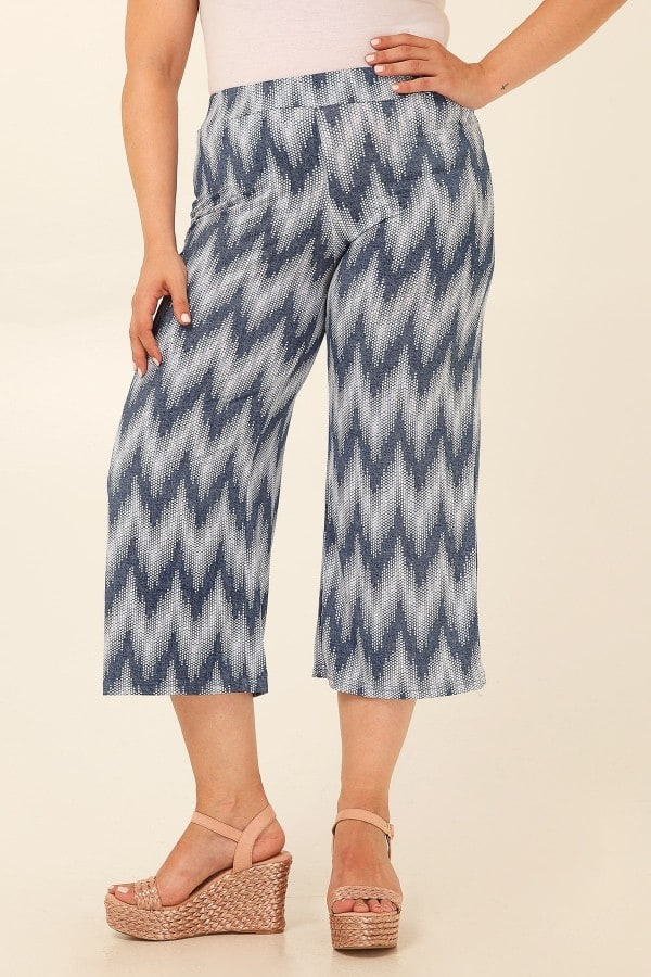 Jersey cropped printed zigzag trousers