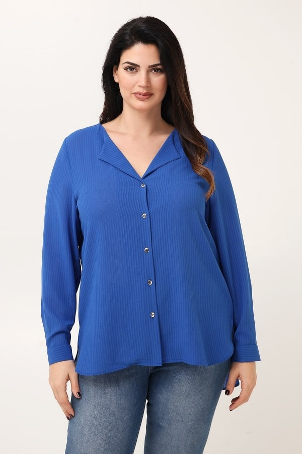 Georgette shirt in striped texture