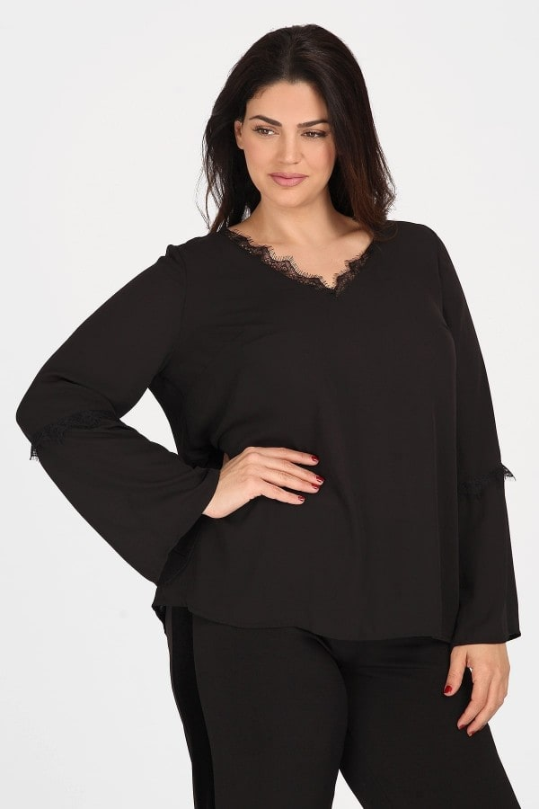 Formal longsleeved blouse from lace