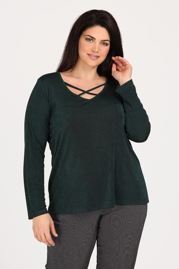 Glossy blouse with laces on V neckline