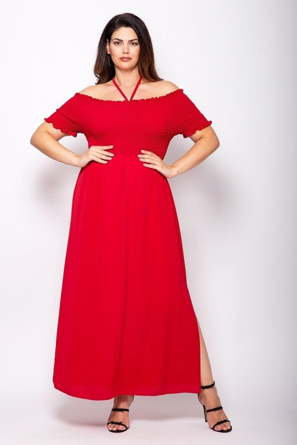 Maxi off-shoulder smocking dress