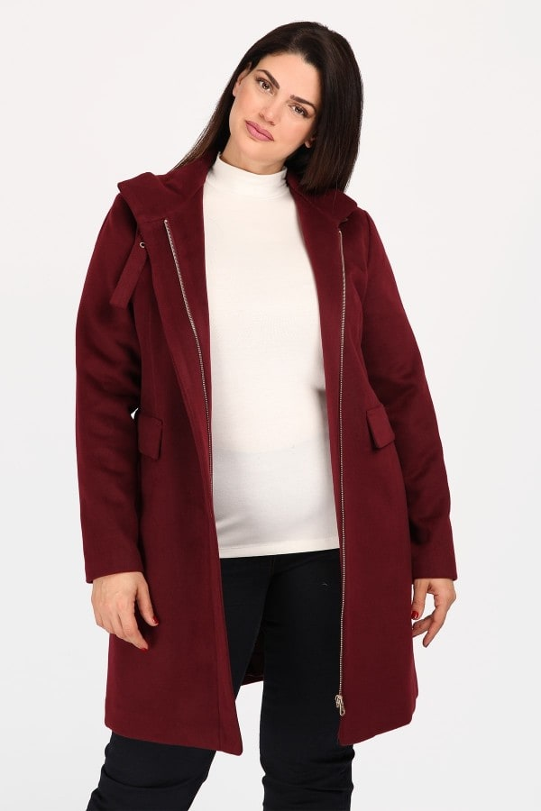 Midi velour coat with zipper