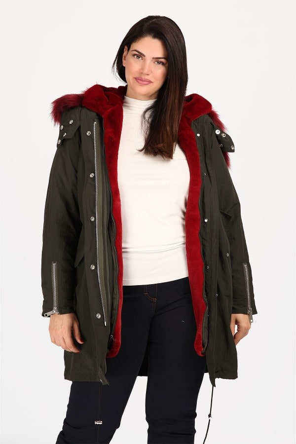Jacket with hood  faux fur