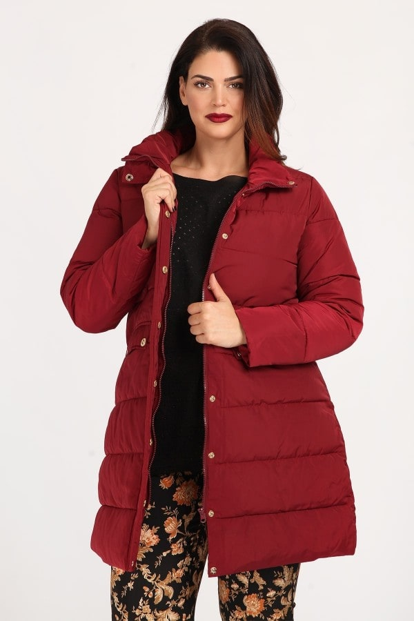 Long puffer jacket without hood