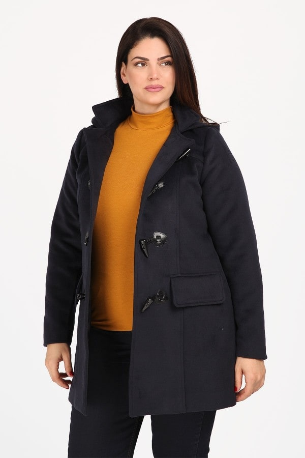 Duffle coat with faux leather trims