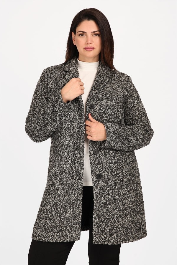Nubby coat with button closure