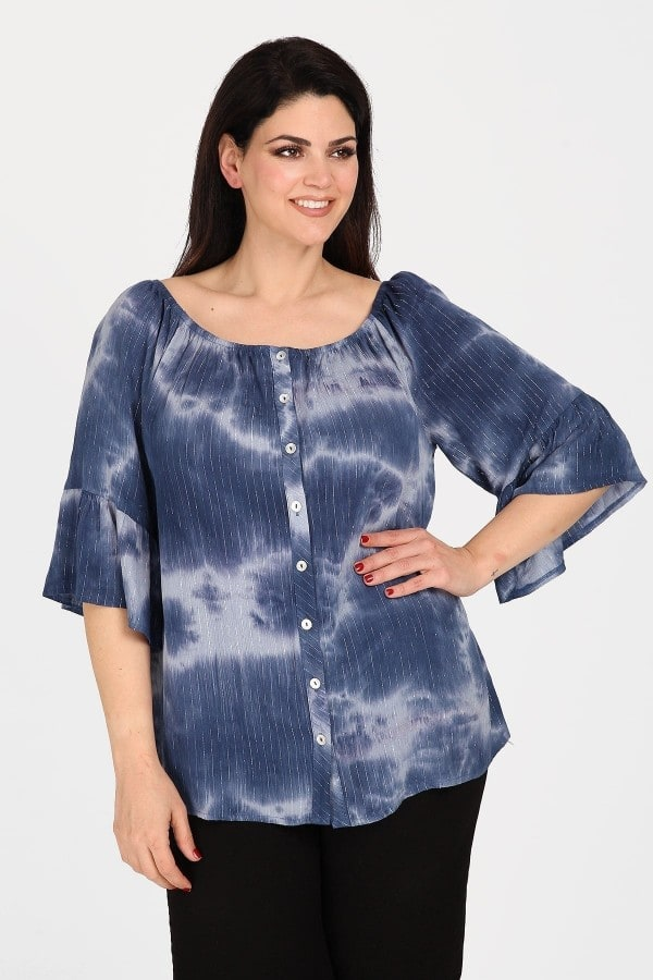 Off-shoulder printed shirt and lurex