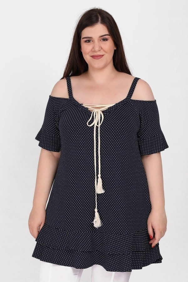 Polka dots cold-shoulder tunic with ruffled details