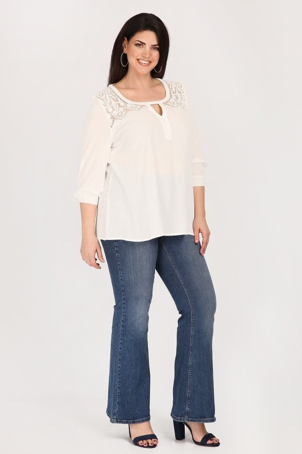 Blouse with embroidered mesh