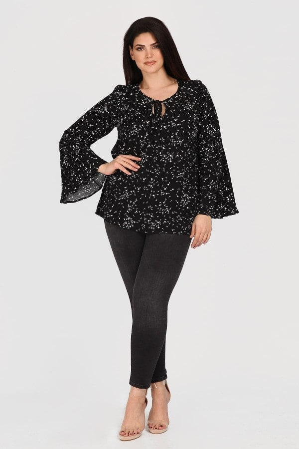 Printed shirtblouse with bell sleeves