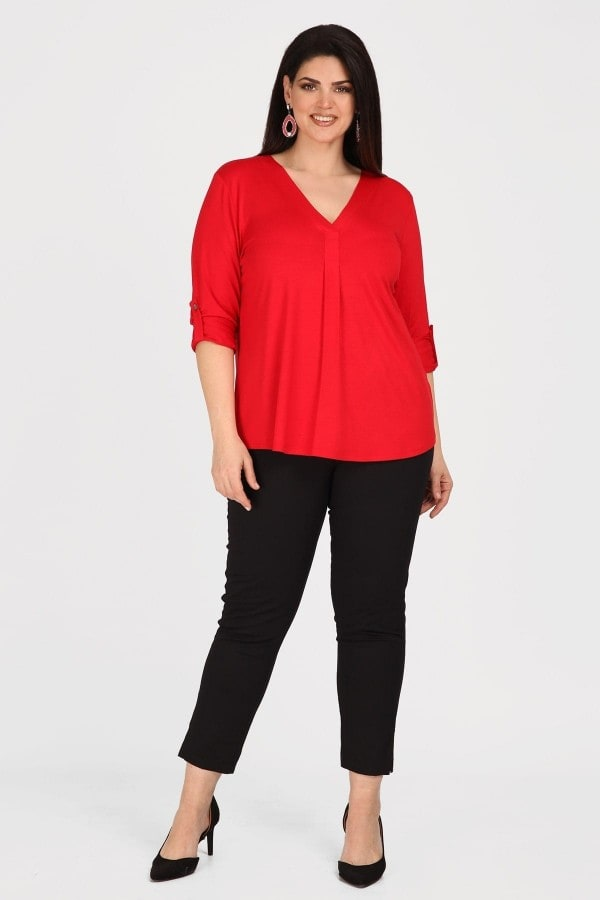 Shirt-blouse with roll-up sleeves