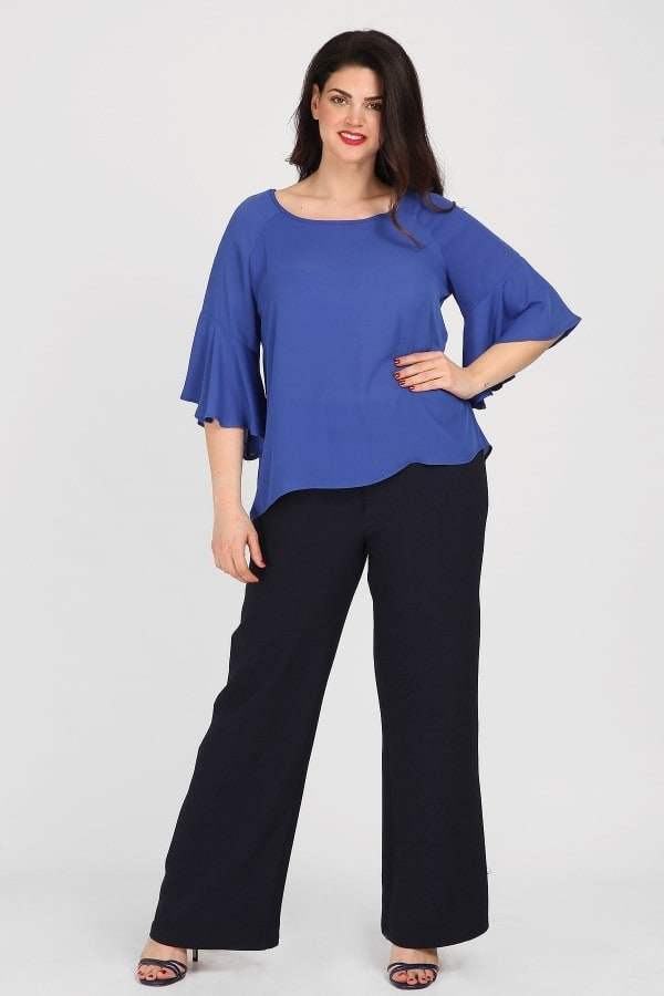 Jersey blouse with bell sleeves