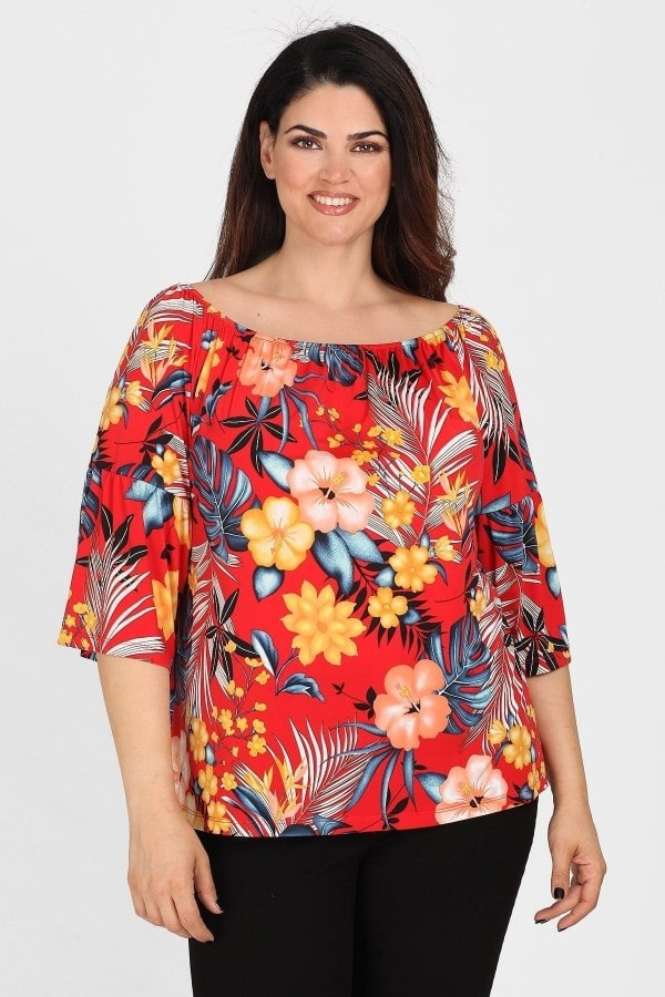 Tropical off-shoulder top with 3/4 sleeves