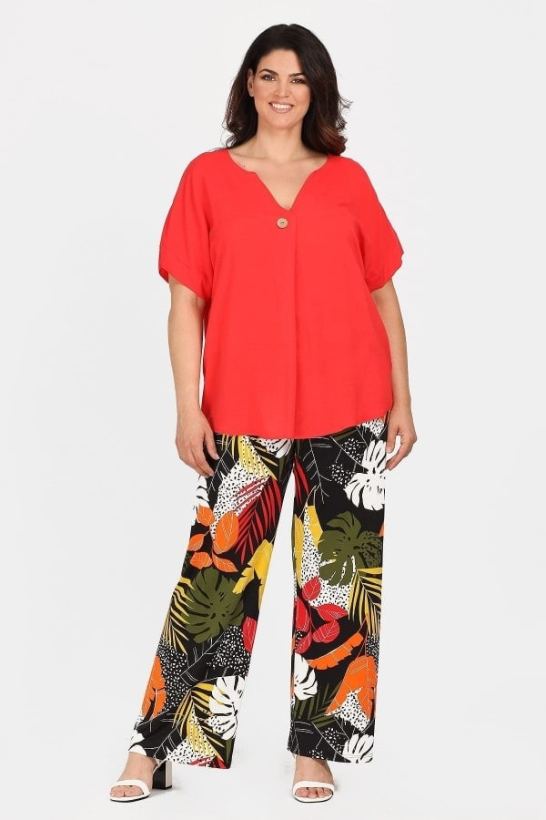 Super jersey ethnic print trousers