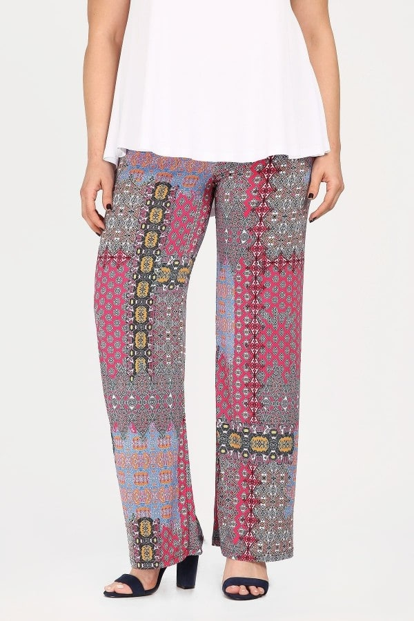 Super jersey patchwork print trousers