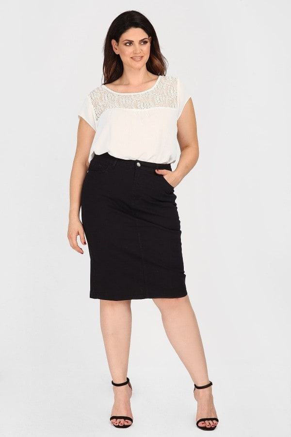 Midi cottoned pencil skirt