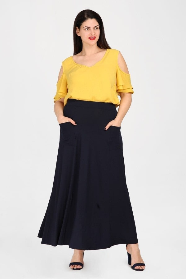 Maxi flare fit viscose skirt with pockets