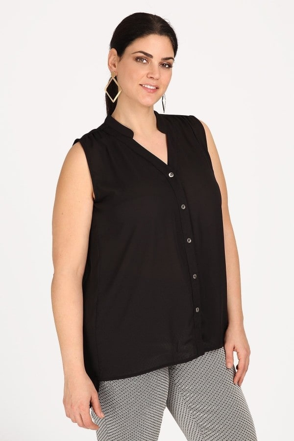 Sleeveless hi-lo shirt from georgette