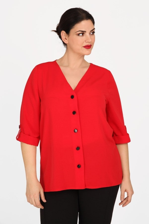 Shirt with turn-up sleeves