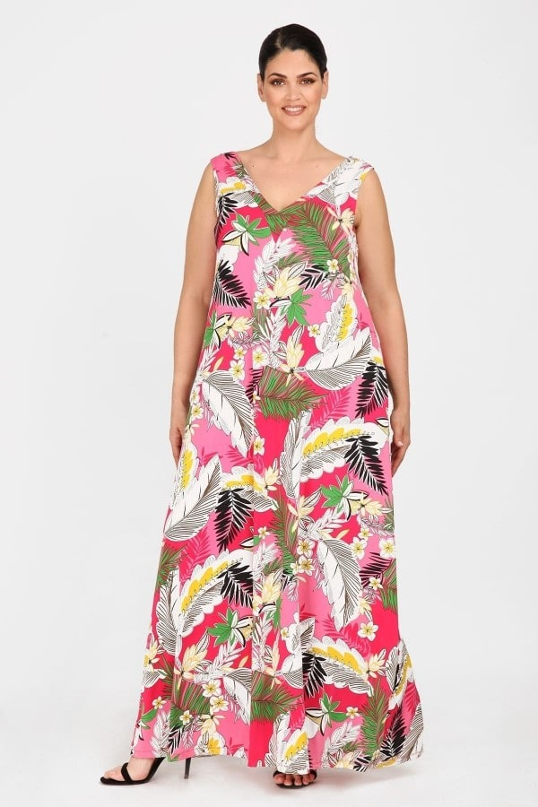 Printed maxi dress with pleated front