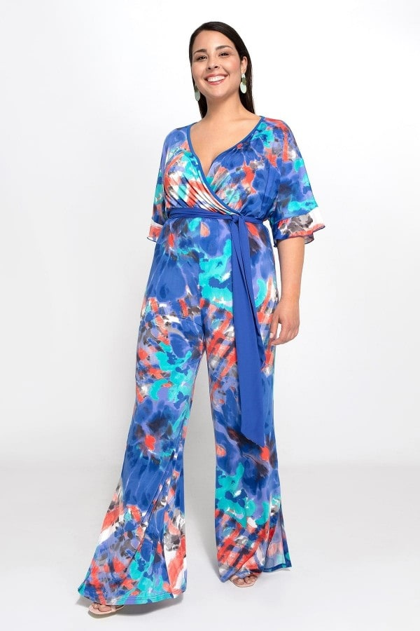 Printed wrap jumpsuit with belt