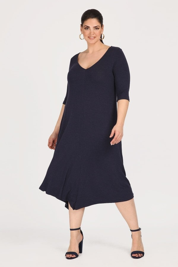 Asymmetric midi dress with 3/4 sleeves