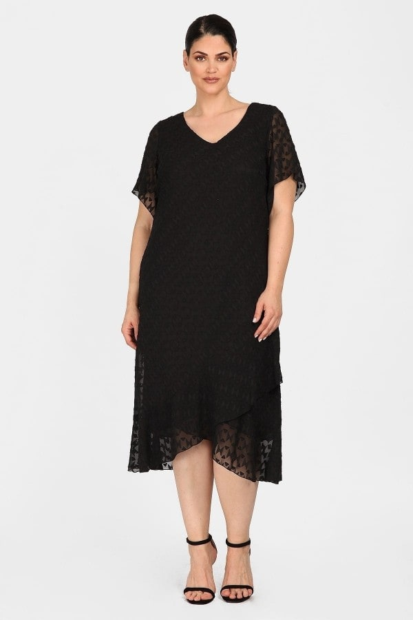 Evening midi monochrome embossed dress